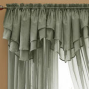 jcp home™ Snow Voile Rod-Pocket Layered Ascot Valance