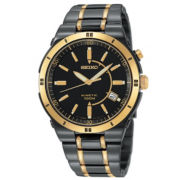 Seiko® Mens Kinetic Black & Gold-Tone TiCN Watch
