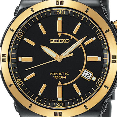 jcpenney.com | Seiko® Mens Kinetic Black & Gold-Tone TiCN Watch SKA366