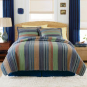 Blue Retro Chic Cotton Striped Quilt