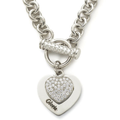 Personalized cubic zirconia sterling silver heart pendant necklace personalized cubic zirconia sterling silver heart pendant necklace aloadofball Images