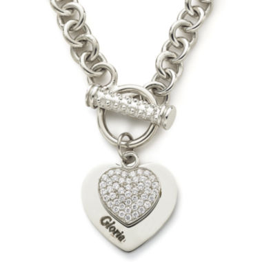 jcpenney.com | Personalized Cubic Zirconia Sterling Silver Heart Pendant Necklace