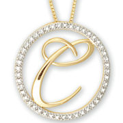Diamond-Accent Circle Initial Pendant Necklace