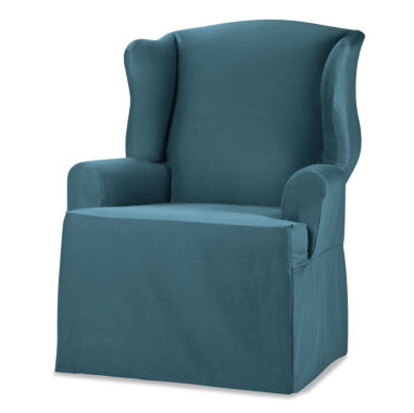 jcpenney.com | SURE FIT® Cotton Duck 1-pc. Wing Chair Slipcover