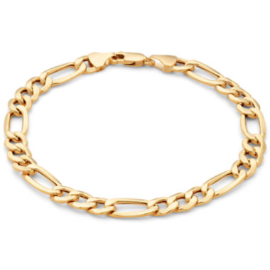 "jcpenney.com | Mens 10K Gold 6.7mm 8.5"" Hollow Figaro Bracelet"