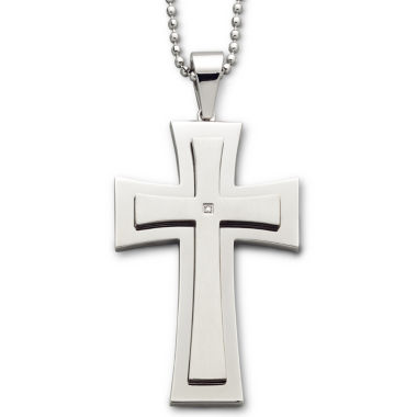 jcpenney.com | Men's Diamond-Accent Stainless Steel Cross Pendant Necklace