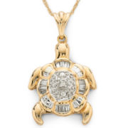 Diamond Turtle Pendant 1/7 CT. T.W. 10K Gold