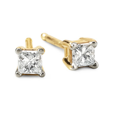 jcpenney.com | 1/5 CT. T.W. Princess Diamond Studs 14K Yellow Gold