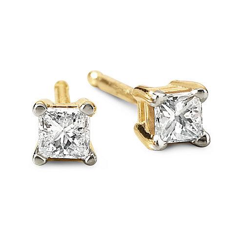 1/5 CT. T.W. Princess Diamond Studs 14K Yellow Gold