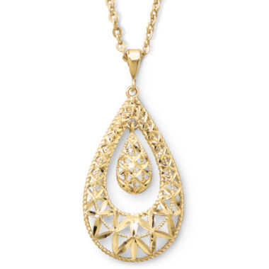jcpenney.com | 10K Gold Filigree Drop Pendant Necklace