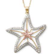 10K Tri-Color Gold Starfish Pendant