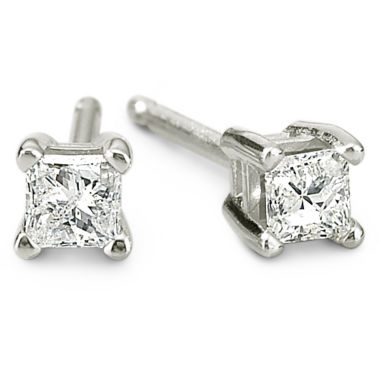 jcpenney.com | 1/5 CT. T.W. 14K White Gold Princess Diamond Studs