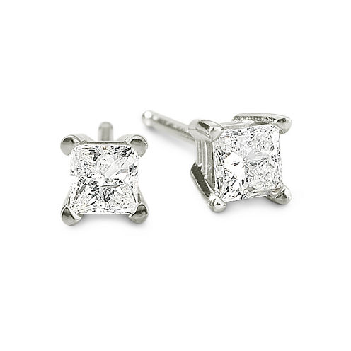 1/3 CT. T.W. Princess Diamond Studs 14K Gold