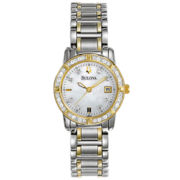 Bulova® Womens Diamond-Accent Mother-of-Pearl Watch
