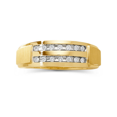 Mens 1/5 CT. T.W. Diamond 2-Row Wedding Band
