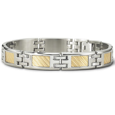 mens 18k gold steel bracelet jcpenney
