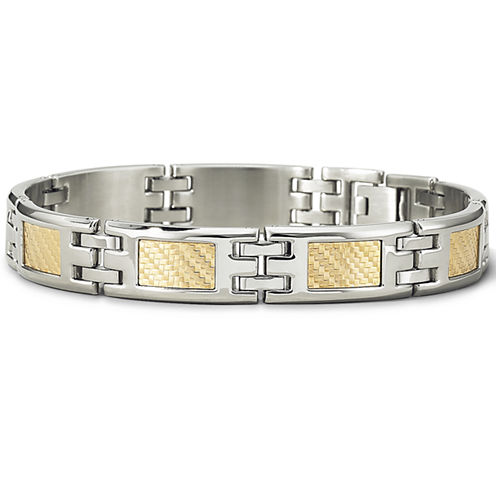 Mens 18K Gold & Steel Bracelet