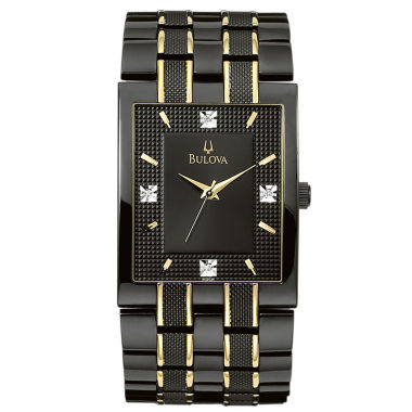 jcpenney.com | Bulova® Men's Black IP Diamond Accent Watch