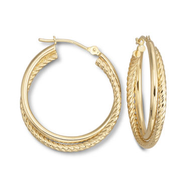jcpenney.com | 14K Yellow Gold 25mm Spiral Hoop Earrings