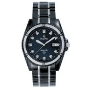 Bulova Mens Black Diamond-Accent Watch
