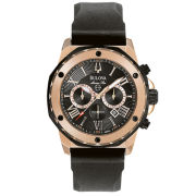 Bulova® Mens Black & Rose Gold-Tone Chronograph Sport Watch
