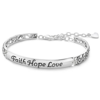 jcpenney.com | Inspired Moments™ Silver Faith, Hope, Love Bracelet