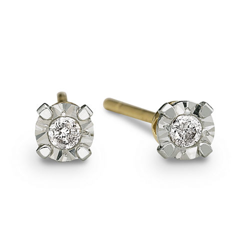 Diamond-Accent Stud Earrings 10K Yellow Gold