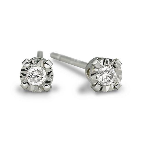 Diamond-Accent Stud Earrings 10K White Gold
