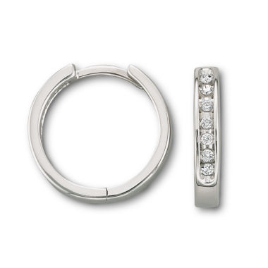 jcpenney.com | 1/6 CT. T.W. Diamond 10K White Gold Hoop Earrings