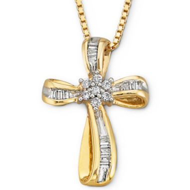 jcpenney.com | 1/4 CT T.W Diamond 14K Yellow Gold-Plated Sterling Silver Cross Pendant Necklace
