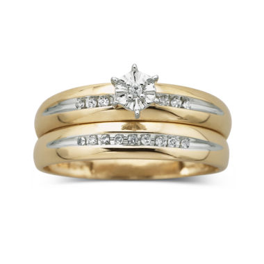 jcpenney.com | 1/8 ct. t.w. Diamond 10K Yellow Gold Bridal Set