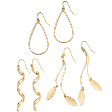 jcpenney.com | Decree® 3-Pair Gold-Tone Drop Earrings