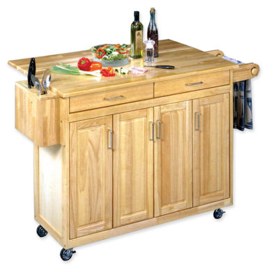 jcpenney.com | Wood-Top Drop-Leaf Rolling Kitchen Island with Towel Rack