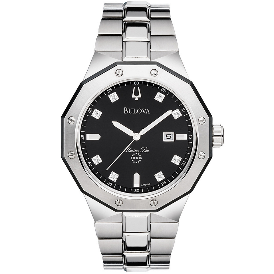 Bulova Mens Diamond Accent Stainless Steel Watch