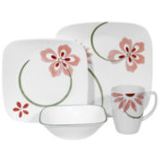 Corelle® Square 16-pc. Pretty Pink Dinnerware Set
