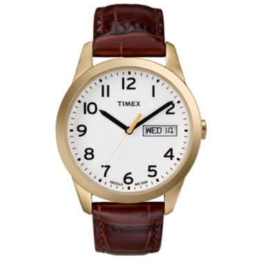 jcpenney.com | Timex® Easy Reader Mens Brown Leather Watch