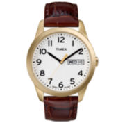 Timex® Men's Easy Reader Brown Leather Watch