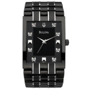Bulova Mens Black Watch w/ Diamond Accents