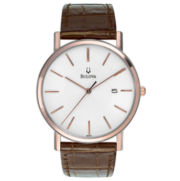 Bulova® Mens Rose Gold Accent Leather Strap Watch