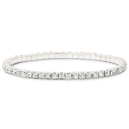 Vieste® Crystal Silver-Tone Tennis Bracelet