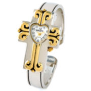 Womens Cross Two-Tone Hinged Bangle Watch