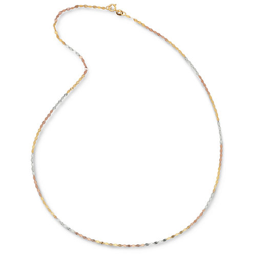 Made in Italy 14K Tri-Color Gold Diamond-Cut Oval 3.9mm Link Chain Necklace