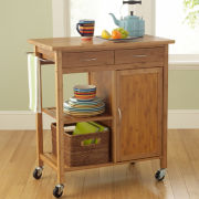 Lotus Bamboo Rolling Kitchen Cart with Towel Rack