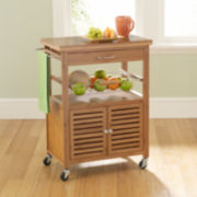 Mandalay Bamboo Rolling Kitchen Cart with Towel Rack