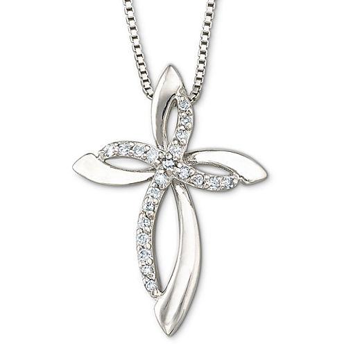 Diamond Cross Pendant Necklace 1/10 CT. T.W.
