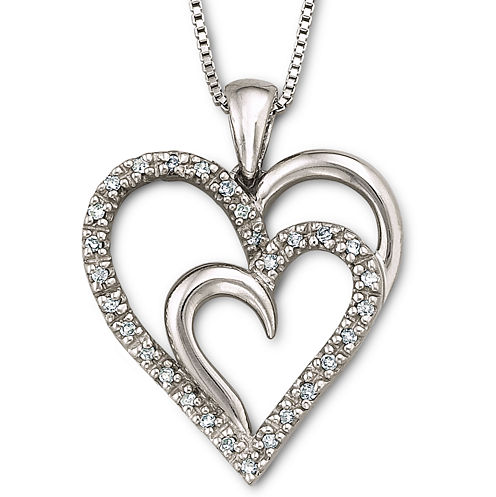 1/10 CT. T.W. Diamond Heart Pendant Necklace Sterling Silver