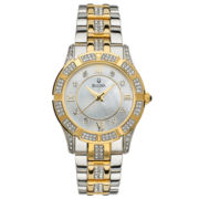 Bulova® Womens Crystal 2-Tone Watch
