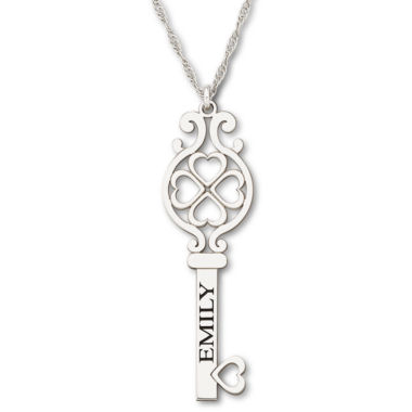 jcpenney.com | Personalized Sterling Silver Key Name Pendant Necklace