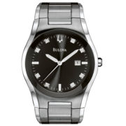 Bulova Mens Diamond-Accent Silver-Tone Watch
