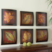 Set of 6 Leaf Wall Plaques